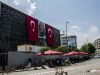 Taksim, and the culture center lost his coloreful flags
