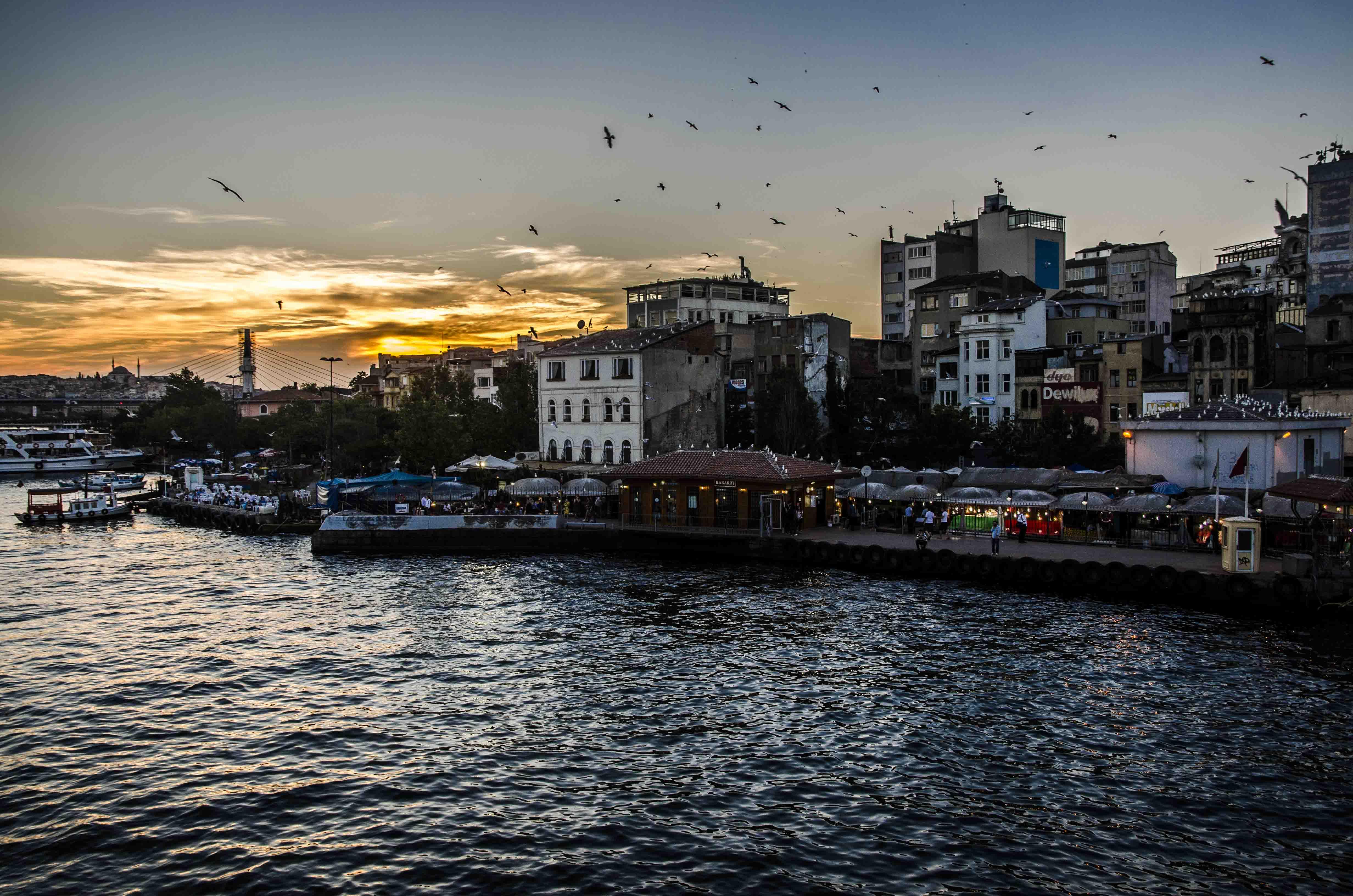 Sunset on Karakoy, fish market